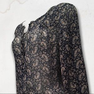 LUCKY BRAND Blue Floral Long Sleeves Blouse